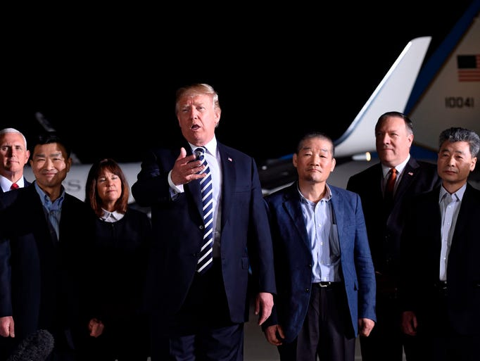 President Trump speaks upon the return of U.S. detainees
