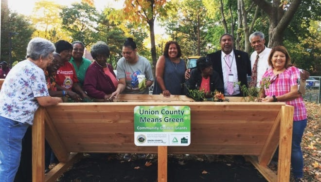 Plainfield officials joined with Richmond Towers residents earlier this week to welcome Union County Freeholder Linda Carter (center) to view the newly installed senior beds for their on-site community garden.
