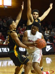 Marist's Brian Parker tries to break through in a game against Vermont. The Red Foxes have won three of their last four games.