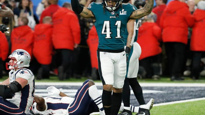 Philadelphia Eagles' Ronald Darby celebrates after the NFL Super Bowl 52 football game against the New England Patriots Sunday, Feb. 4, 2018, in Minneapolis. The Eagles won 41-33. (AP Photo/Matt York)