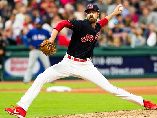 Indians reliever Andrew Miller pitches in the eighth