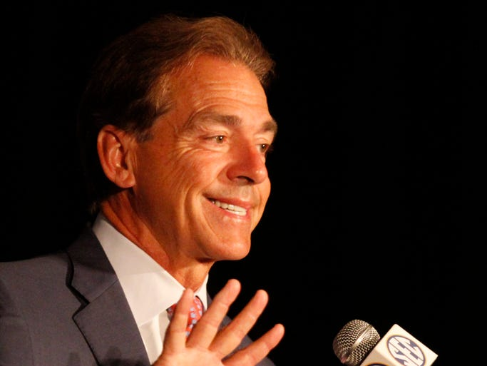 Alabama coach Nick Saban speaks to media at the SEC Football Media Days on Thursday in Hoover, Ala.