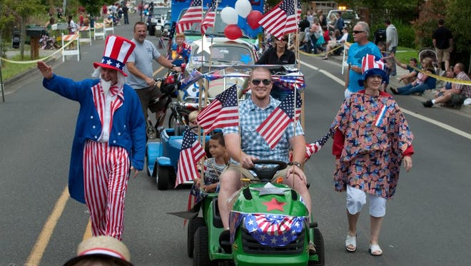 A previous parade at The Stewart Heritage Festival was packed with red, white and blue.