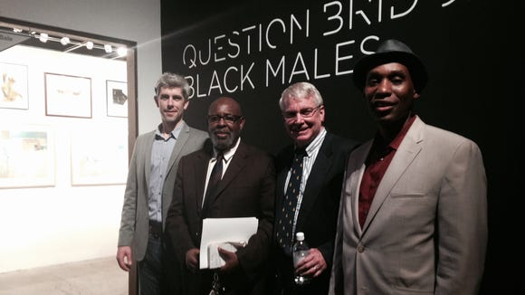 Rochester Contemporary Arts Center Executive Director Bleu Cease, left, with panelists, from left, Democrat and Chronicle Editorial Page Editor James Lawrence, D&C reporter Gary Craig and WDKX-FM personality Tariq Spence.