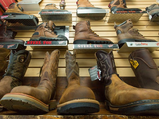 Boots are on display at Red Wing Shoes on Friday May