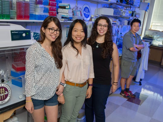 Doctoral students Emily Lee, Yichen Cheng and Sarah Ogden played a key role in conducting Zika research in Professor Hengli Tang's laboratory.  Tang is at the far right.