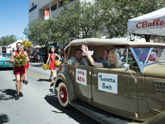 M*A*S*H star Loretta Swit, right, rides in a car with Las Cruces Mayor Ken Miyagishima on Saturday, September 17, 2016, during the Plaza de Las Cruces dedication parade at downtown Main Street.