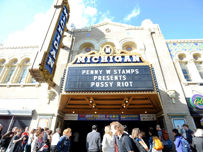 Fans line up outside Michigan Theater to hear members of Pussy Riot. The lines stretched for a block both sides of the theater.
