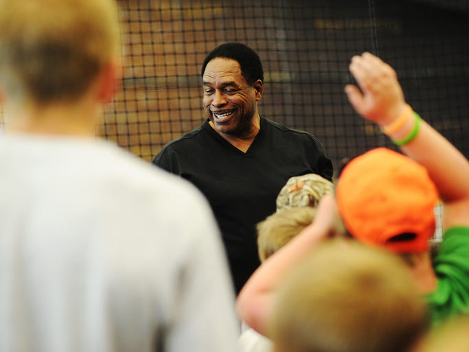 Former Major League Baseball right fielder, Dave Winfield speaks to participatents of the Legends Baseball Clinic on Friday, June 13, 2014, at the Sanford Fieldhouse in Sioux Falls.