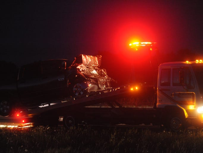 At least three vehicles were involved in a crash on U.S. Highway 41 near Lincoln Road in northern Fond du Lac County, Wednesday, Aug. 13, 2014.