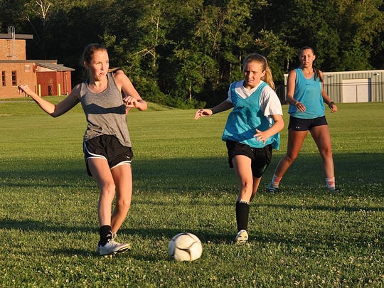 Yorktown High girls soccer players scrimmage July 19,