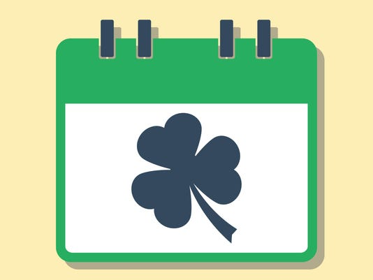 green calendar with clover leaf, luck concept, flat style vector illustration