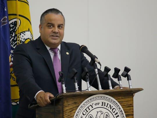 City of Binghamton Mayor Richard David delivers his
