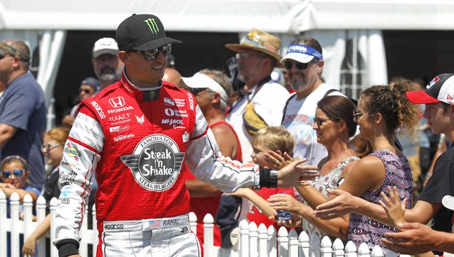 Graham Rahal is seen during driver introductions for the IndyCar Honda Indy 200 auto race Sunday, July 31, 2016, at Mid-Ohio Sports Car Course in Lexington, Ohio.