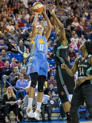 Chicago's Elena Delle Donne (No. 11) puts up a shot in the first half of Chicago's 93-59 win over the New York Liberty at the Bob Carpenter Center in Newark on Sunday afternoon.