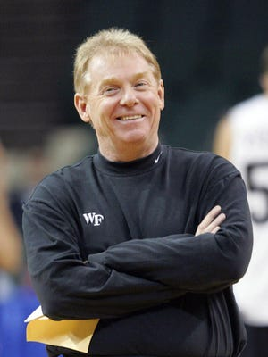 Wake Forest coach Skip Prosser smiles in a Wednesday, March 16, 2005 photo, during the practice in Cleveland.  Wake Forest men's basketball coach Skip Prosser died Thursday, July 26, 2007, the university said. He was 56.(AP Photo