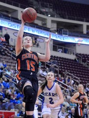 Allison Wagner of Central York goes to the hoop unrestricted during the District 3 girls' basketball at the Hershey Giant Center, Monday, February 26, 2018. John A. Pavoncello