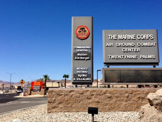 The entrance to the Twentynine Palms Marine Air Ground Combat Center