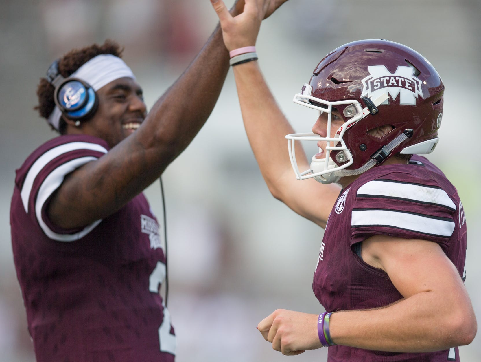 Mississippi State quarterback Elijah Staley (left) and Nick Fitzgerald are the favorites to take over for Dak Prescott.