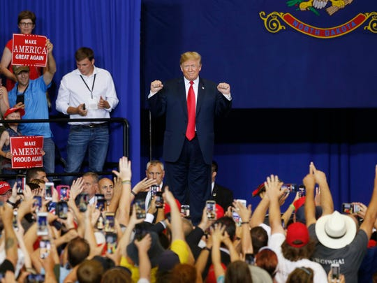 President Donald Trump arrives to speak at a campaign rally June 27 in Fargo, N.D. (AP Photo/Jim Mone)