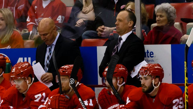 Oct 13, 2015; Detroit Red Wings head coach Jeff Blashill during the first period against the Tampa Bay Lightning at Joe Louis Arena.