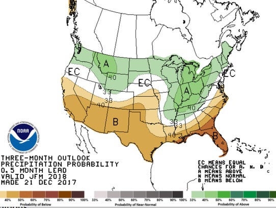 Winter weather map shows expected precipitation across