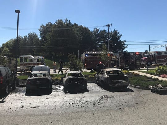 The damage after a car fire in Woodcliff Lake on Sept.