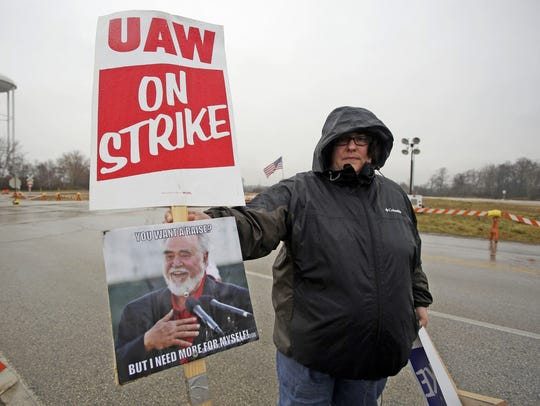 A striking UAW Local 833 worker who declined to give