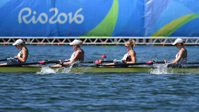 Team USA competes in the women's eight during rowing competition in the Rio 2016 Summer Olympic Games at Lagoa Stadium.