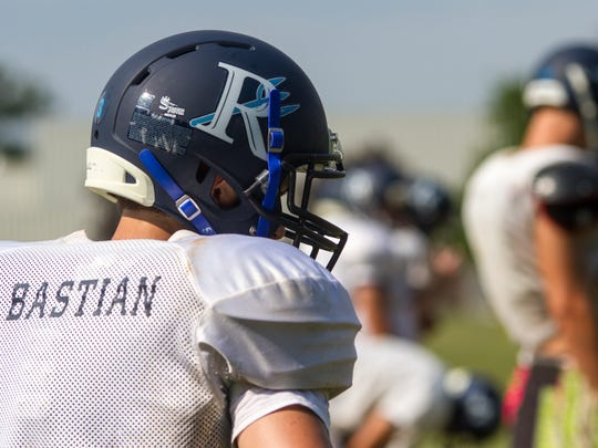 Richmond High Scool senior wide receiver Dominic Bastion waits for a play to start during practice on Aug. 16. The Blue Devils will play their first game against Marysville on Aug. 24.