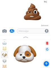 Sending Animoji through the Messages app.