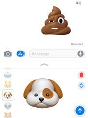 Sending Animoji through the Messages app.