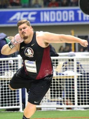 Florida State redshirt junior Austin Droogsma owns the No. 3 outdoor and No. 6 indoor shot put marks in FSU history.