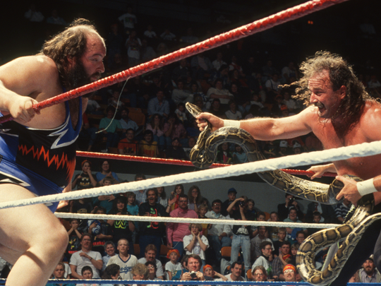 "Jake ""The Snake"" Roberts, a 2014 WWE Hall of Fame inductee, is best known in WWE for bringing snakes to the ring during matches."