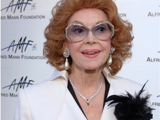 FILE - In this Sept. 9, 2006 file photo, actress Jayne Meadows arrives for the 3rd annual Alfred Mann Foundation Innovation and Inspiration Gala held in Beverly Hills, Calif. The actress and TV personality, Meadows, who often teamed with her husband Steve Allen, has died at age 95. Meadows' son, Bill Allen, said she died Sunday, April 26, 2015, in her home in the Encino area of Los Angeles. (AP Photo/Phil McCarten, File)