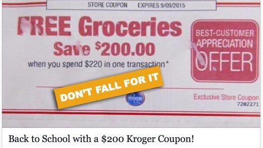 Don't fall for bogus Kroger offer on Facebook