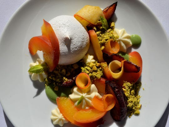 Stone fruit pavlova at the Frog and the Peach in New