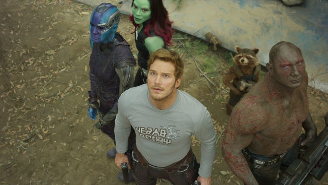 Nebula (Karen Gillan, from far left), Gamora (Zoe Saldana), Peter Quill (Chris Pratt), Groot (voiced by Vin Diesel), Rocket (voiced by Bradley Cooper) and Drax (Dave Bautista) face new problems in the sequel 'Guardians of the Galaxy Vol. 2.'