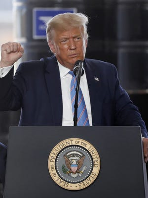 President Donald Trump delivers remarks about American energy production during a visit to the Double Eagle Energy Oil Rig Wednesday in Midland, Texas.