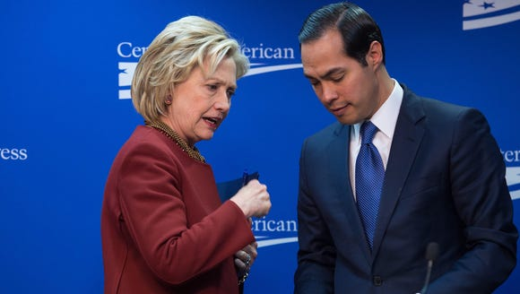 Hillary Clinton talks with Julian Castro in March 2015.