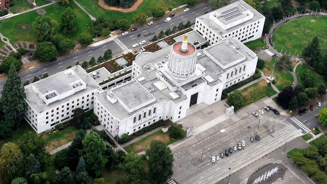 This aerial photo, taken from a Zeppelin in August 2010, shows the massive size of the Oregon Capitol.