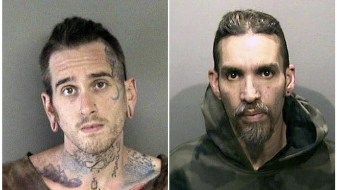 This combination of June 2017 file booking photos shows Max Harris, left, and Derick Almena, at Santa Rita Jail in Alameda County, Calif. More than two years after 36 people died in the fire, Almena and Harris face charges of involuntary manslaughter and will stand trial on charges that they allegedly illegally converted the industrial building into an unlicensed entertainment venue and artist live-work space.