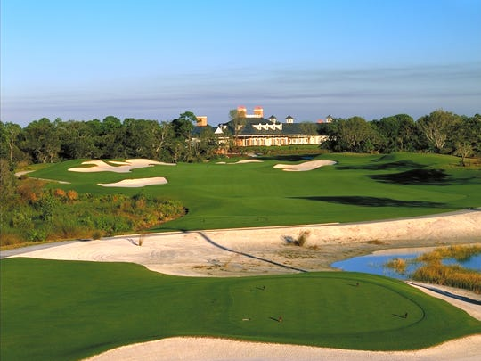 The 18th hole at The Old Collier Golf Club. A four-person