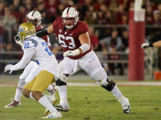 Sep 23, 2017; Stanford, CA, USA; Stanford Cardinal guard Nate Herbig (63) during the game against the UCLA Bruins at Stanford Stadium. Mandatory Credit: Sergio Estrada-USA TODAY Sports