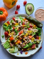 Chicken Poblano Corn and Bell Pepper Salad with Creamy
