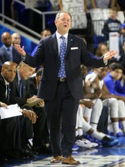 MTSU coach Kermit Davis on the sidelines during the game against UAB on Sunday at Murphy Center.