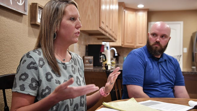 Chelsea Putney explains the steps she and her husband, Wichita Falls Police Officer Tim Putney, have gone through attempting to get back surgery approved for her husband's on the job injury.