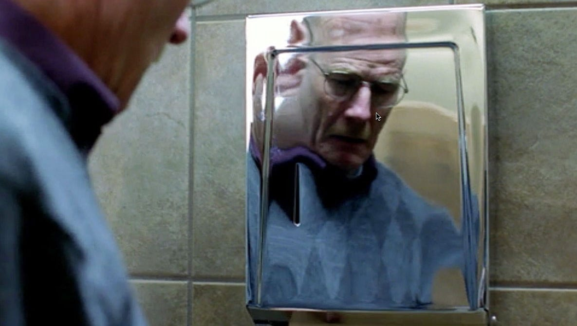 "'4 Days Out' (Season 2, episode 9) | Scene: Walt has just gotten the good news that he has made a miraculous turnaround against his cancer. But upon seeing his face in the reflection of a paper towel dispenser, he bloodies his knuckles. ""I don't remember if we used foam brass knuckles or a foam dispenser,"" Gilligan says. ""I just remember our mission in that scene: Do not break Bryan's hand."""