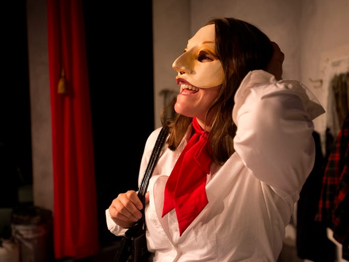 """Heather Ostberg Johnson is in character as Leslie for the play """"I, Claudia"""" at the Bas Bleu Theatre Company in Fort Collins Tuesday, April 1, 2014. """"I, Claudia,"""" which opens April 3, is a one-woman play that uses four different masks to portrait four different characters."""