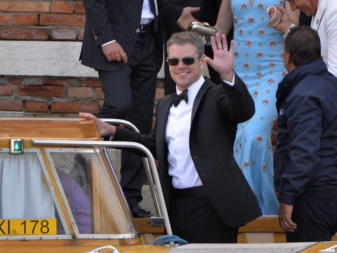 Matt Damon, who co-starred with Clooney in the 'Ocean's 11' franchise and this year's 'Monument Men,' catches his water taxi.